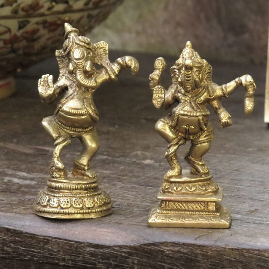 Индийская бронзовая статуэтка Ганеш, 9 см (в ассортименте)