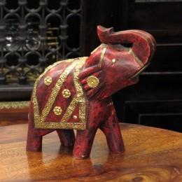 Красная статуэтка слона с поднятым хоботом Oopar, 20 см