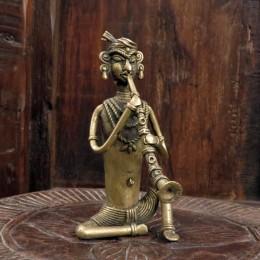 Оригинальная статуэтка музыканта, бронза, Индия, 14 см