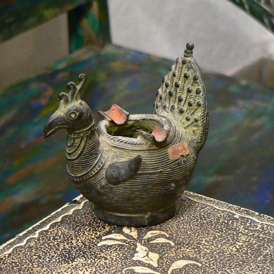 Бронзовая пепельница в виде птицы, 10 см