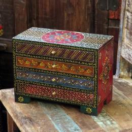 Расписной индийский комод-шкатулка для украшений Rang Ka III