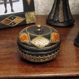 Круглая шкатулка в этно стиле Rakhana
