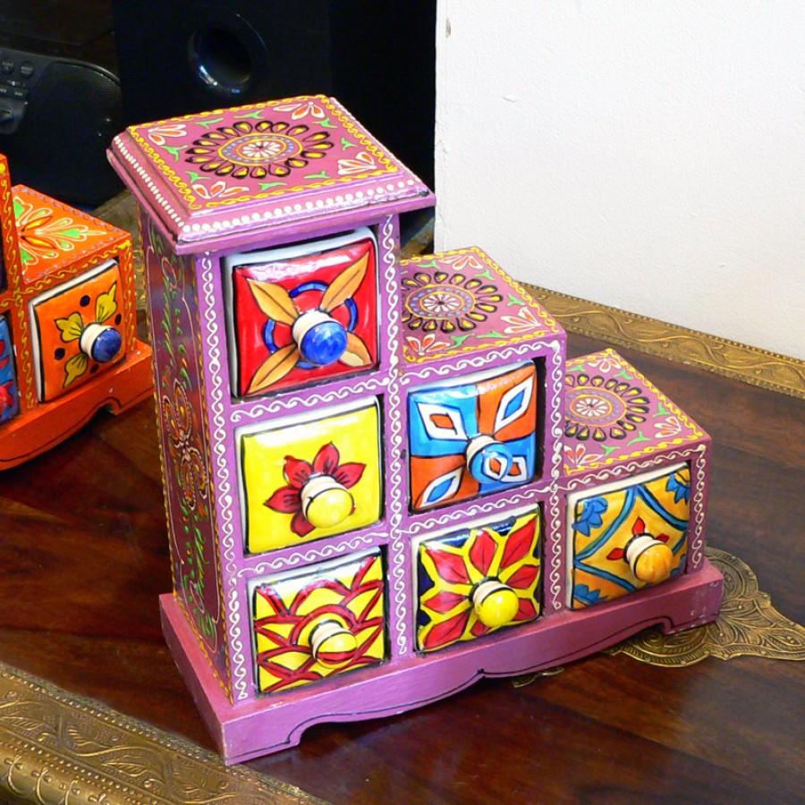 Расписная индийская шкатулка-комод с отделениями Rang Ka