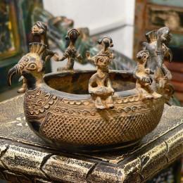 Индийская чаша из бронзы Mitrata, 22х14х13 см