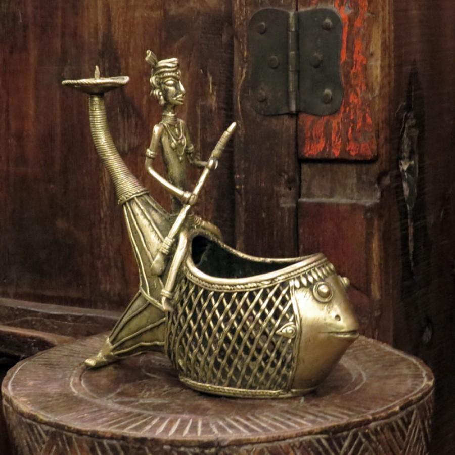 Индийская статуэтка-емкость  Machhalee, 19 см