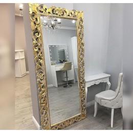 Большое зеркало в резной раме Giardino, white gold, 200х93 см