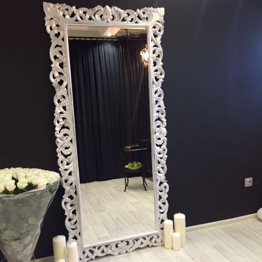 Зеркало в пол в багете из массива Giardino, white silver, 200х93 см