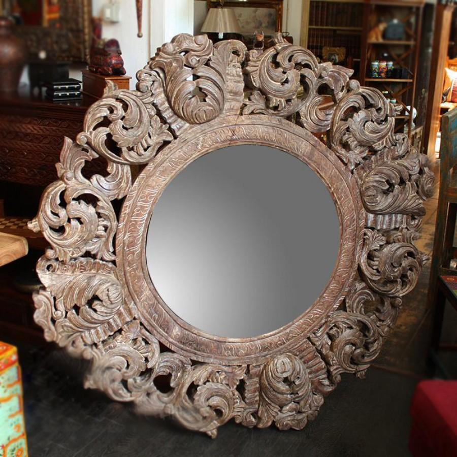 ШАНКАРА 2, круглое резное зеркало из массива