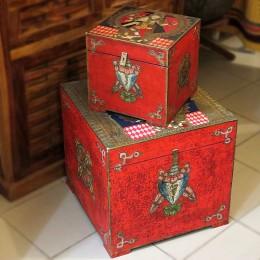 Красный деревянный сундук Devatv, два размера