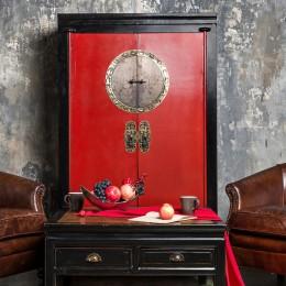 Черно-красный шкаф в этническом стиле Shenghuo, 170 см