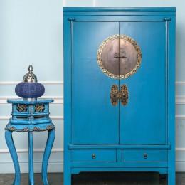 Голубой двухдверный шкаф династии Мин Lan Hu, 174 см