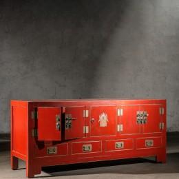 Красный длинный комод в восточном стиле Zhang, 62 см
