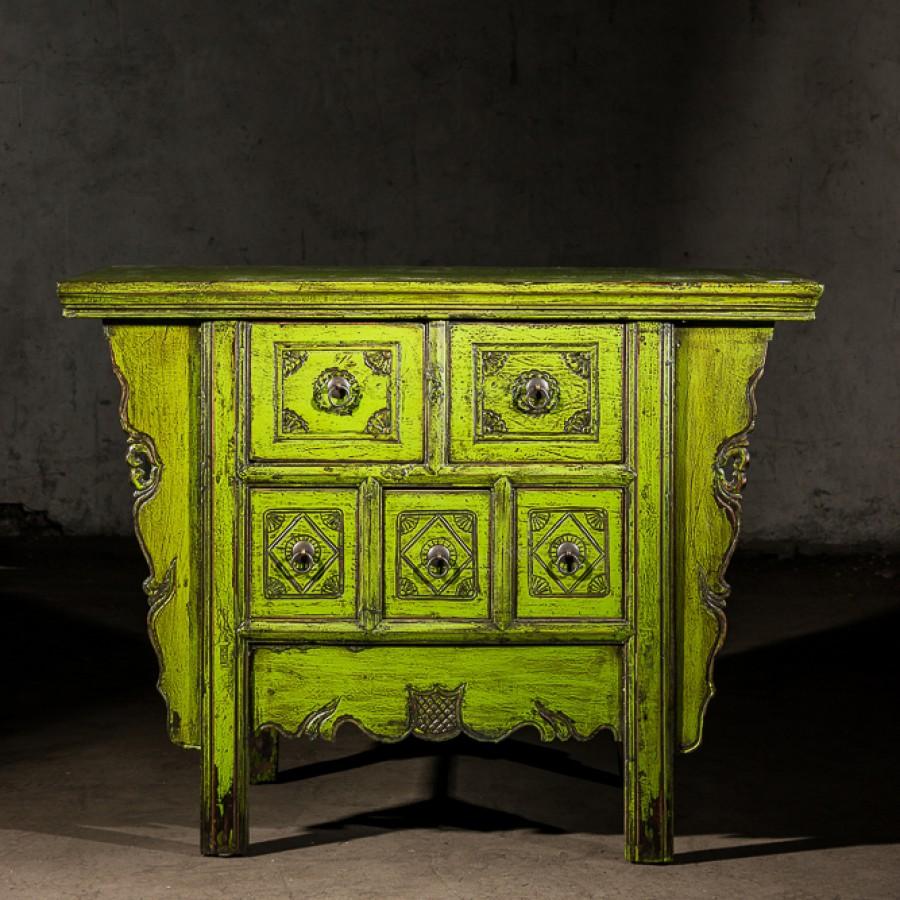 Зеленый резной комод в китайском стиле Xianhua Shu, 86 см