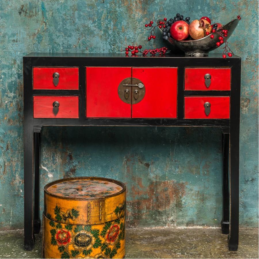 Черно-красная консоль Zuo, 87 см