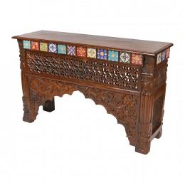 Индийский резной стол-консоль Chaukon, 76 см