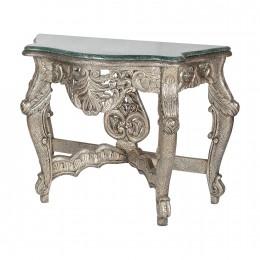 Консольный стол из мрамора, палисандра и серебра Vilaasita, 81 см