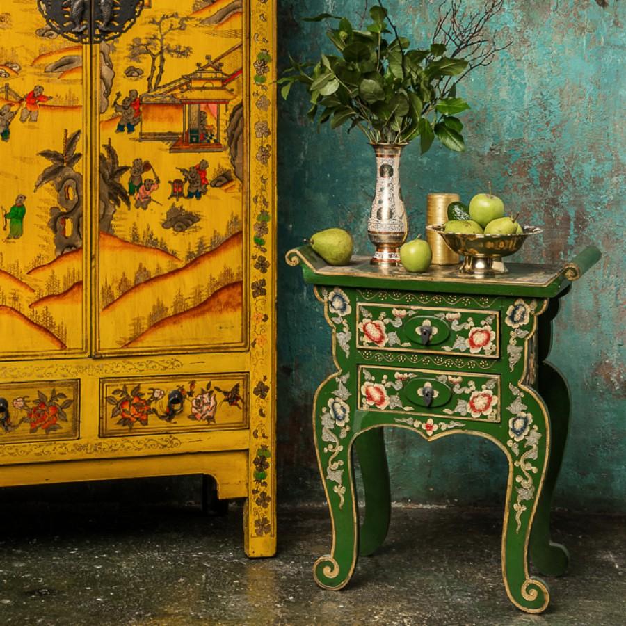 Столик-консоль в этническом стиле, зеленая, 66 см