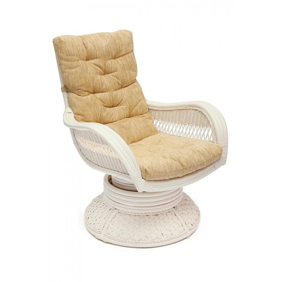 АСУНСЬОН, кресло-качалка из натурального ротанга, белое