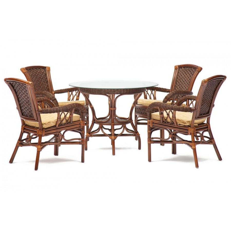 БОГОТА, комплект ротанговой мебели для сада или веранды, античн. орех