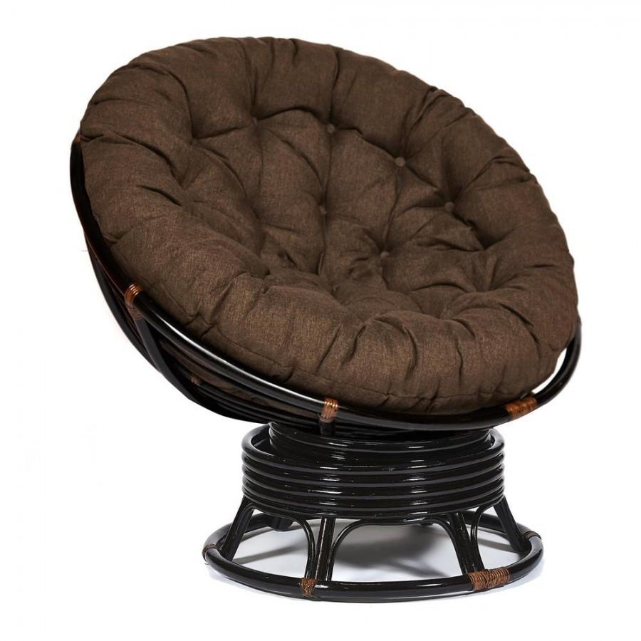 КАЛЬЯО, кресло-качалка из натурального ротанга с коричневой подушкой