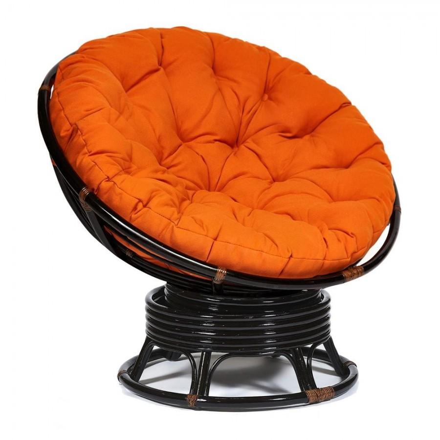 КАЛЬЯО, кресло-качалка из натурального ротанга с оранжевой подушкой