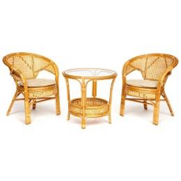 ТЕРЕЗИНА, комплект из двух кресел и стола из натурального ротанга
