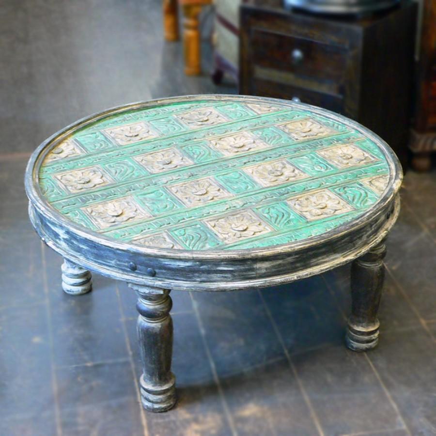 Деревянный круглый журнальный столик Dhaaga