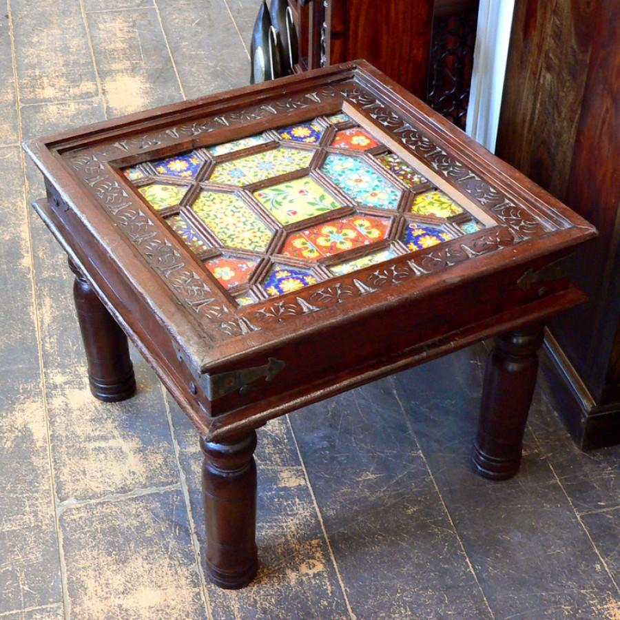 Кофейный столик с инкрустацией керамикой Сhaukon, 45 см