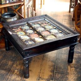 Восточный журнальный столик с керамическим декором