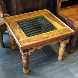 Журнальный столик из массива палисандра и металла. Индия