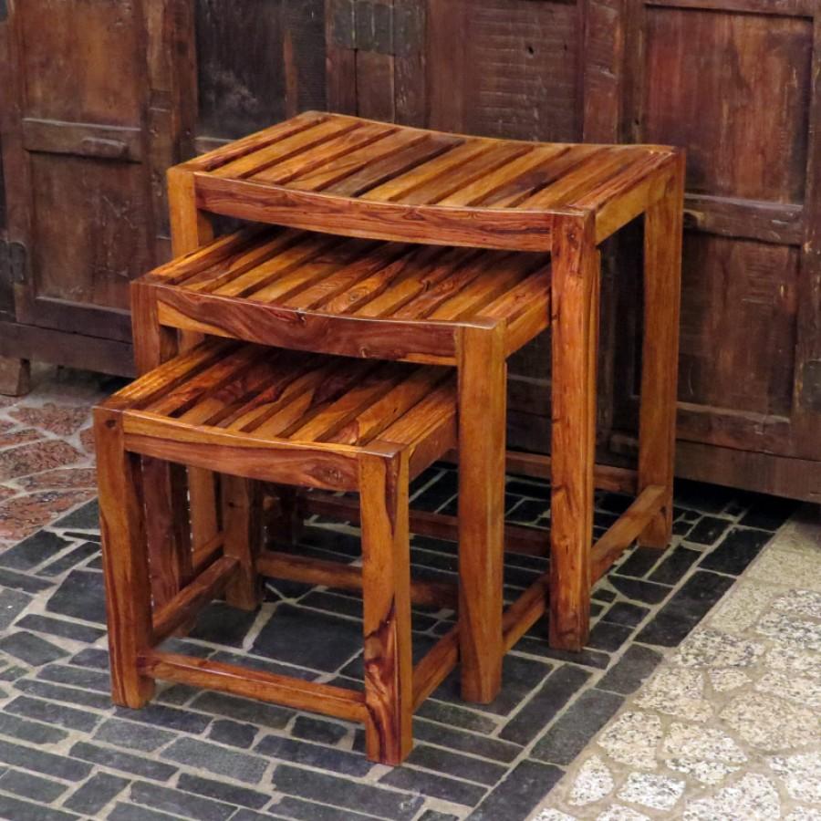 Деревянный столик-табурет из Индии Lakadee