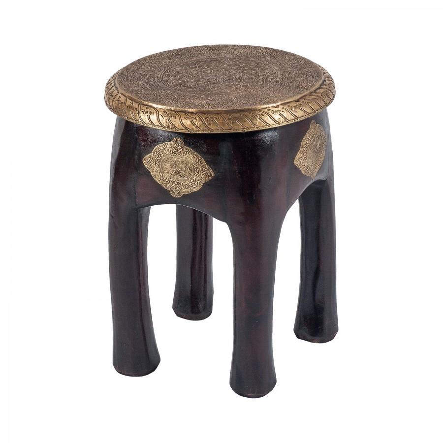 Индийский столик-табурет из массива палисандра и латуни, 46 см