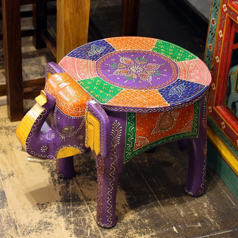 Индийский расписной столик-табурет Слон