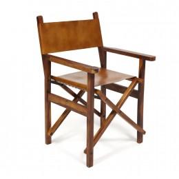 Кресло из кожи и массива палисандра Noah