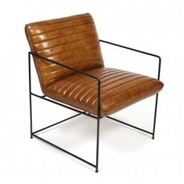 Кресло из кожи на металлическом каркасе Michael