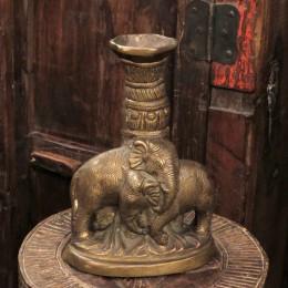 Бронзовый подсвечник из Индии. Слоны, 22 см