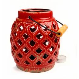 Подсвечник-фонарь из керамики, 18 см
