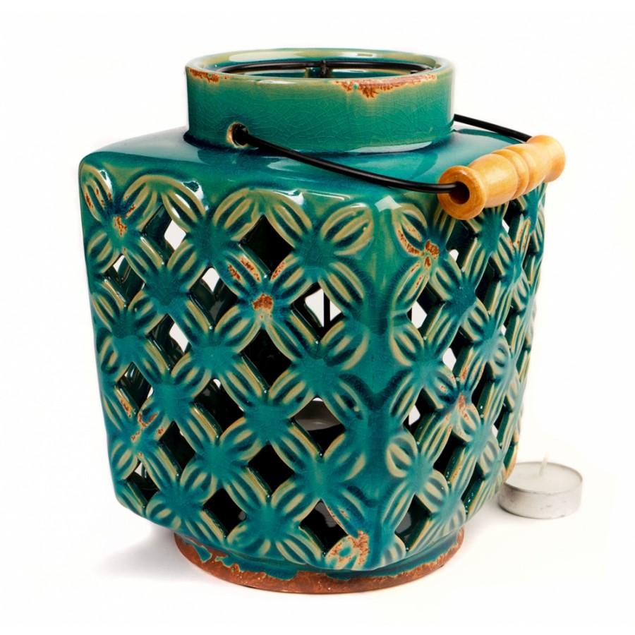 Подсвечник-фонарь из керамики, 21 см