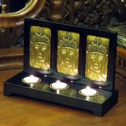 Подсвечник на три свечи с латунной чеканкой, 27х18 см