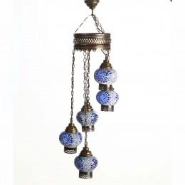 Люстра каскад из мозаичных плафонов СТАМБУЛ, голубая