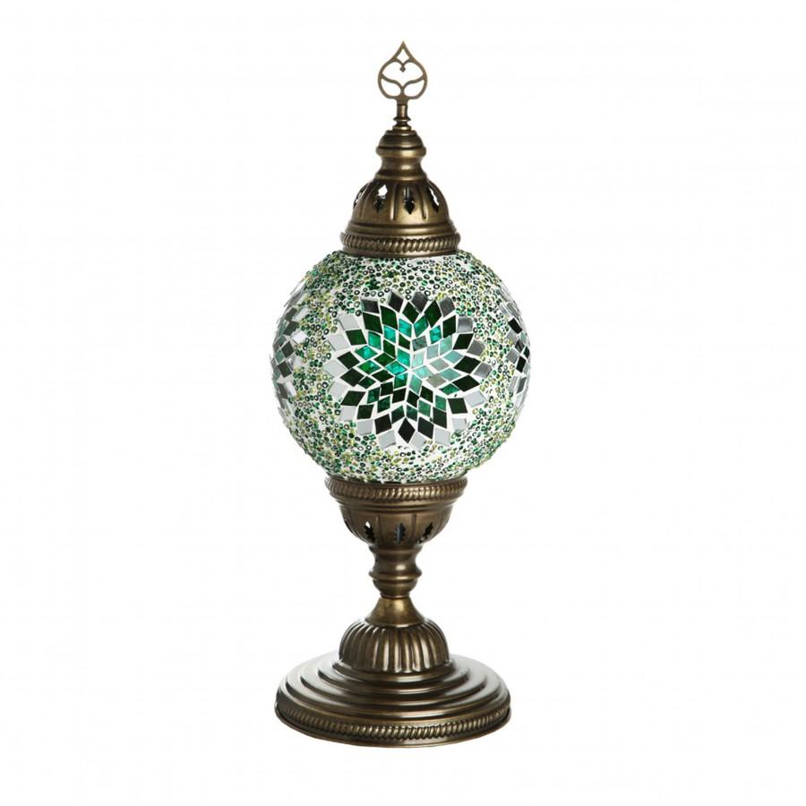 Восточная лампа из стеклянной мозаики, МАРОККО, зеленая