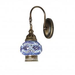 Бра из стеклянной мозаики в восточном стиле, голубое