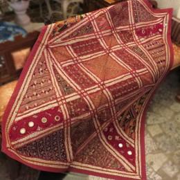 Коврик с вышивкой из Индии, фуксия, 100x150 см