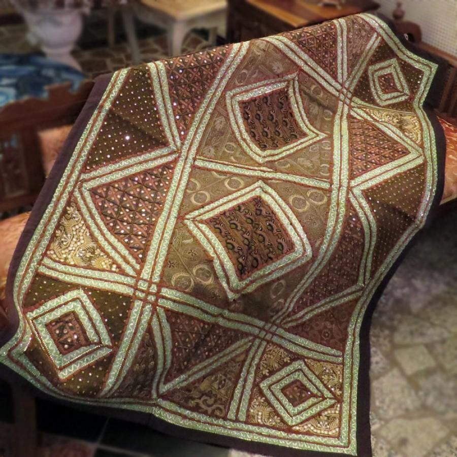 Коврик с вышивкой из Индии, коричневый, 100x150 см