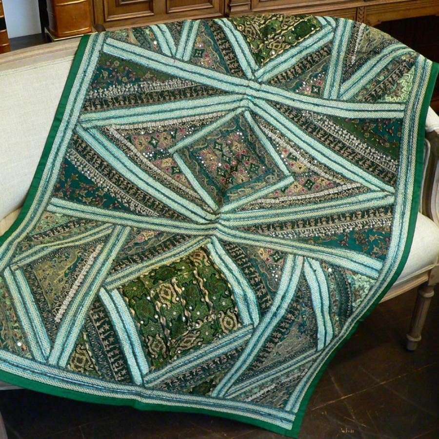 Коврик с вышивкой из Индии, зеленый, 100x150 см