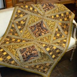 Коврик с вышивкой из Индии, желтый, 100x150 см