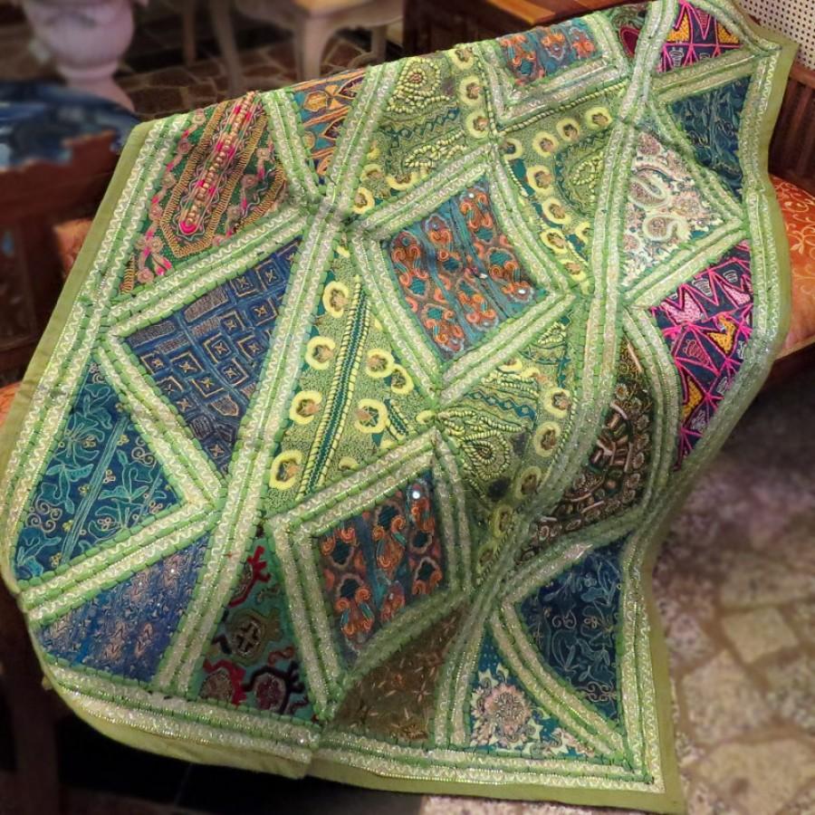 Расшитый коврик из Индии, зеленый, 100x150 см
