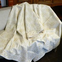 Хлопковое белое покрывало. Ручная вышивка