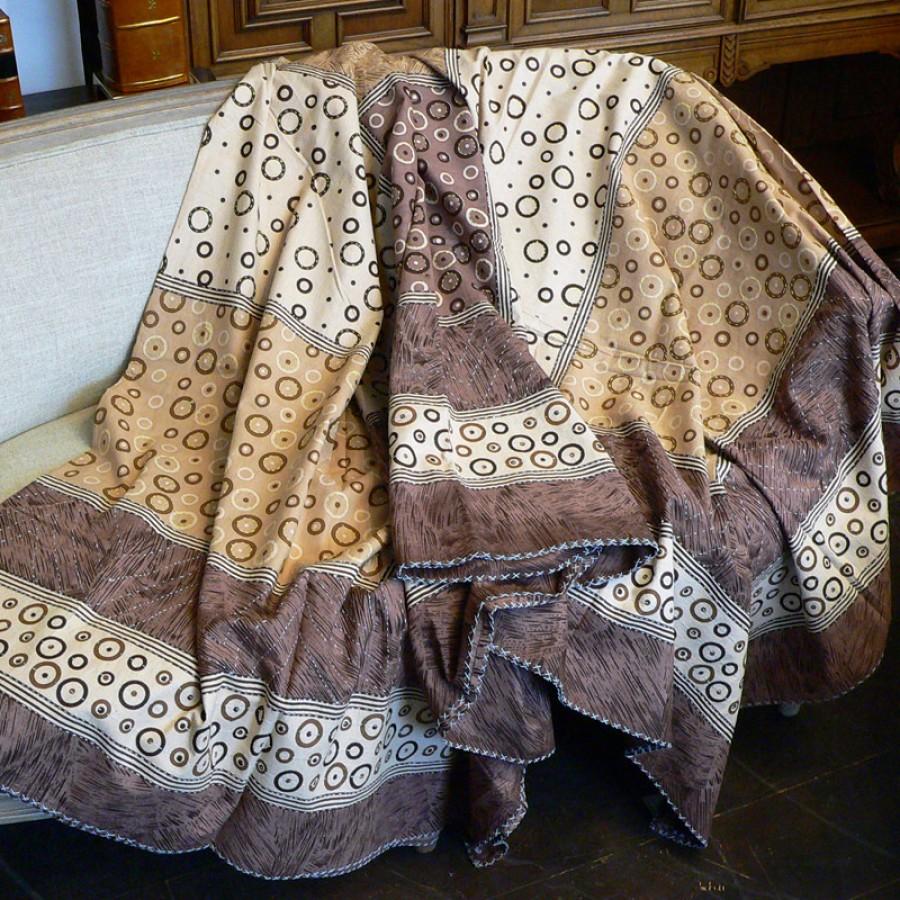 Хлопковое покрывало с вышивкой и принтом, 220х270 см