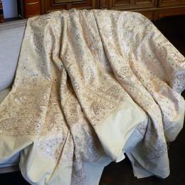 Индийское покрывало с вышивкой, кремовое, 220х270 см